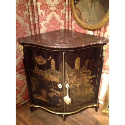 Rare Corner In European Lacquer Decorated With Pagodas And Chinese Garden Louis XV Period