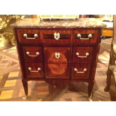Small Sauteuse Commode In Marquetry Transition Period Parisian Work