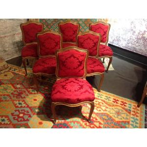 Series Of 6 Louis XV Style Chairs In Oak
