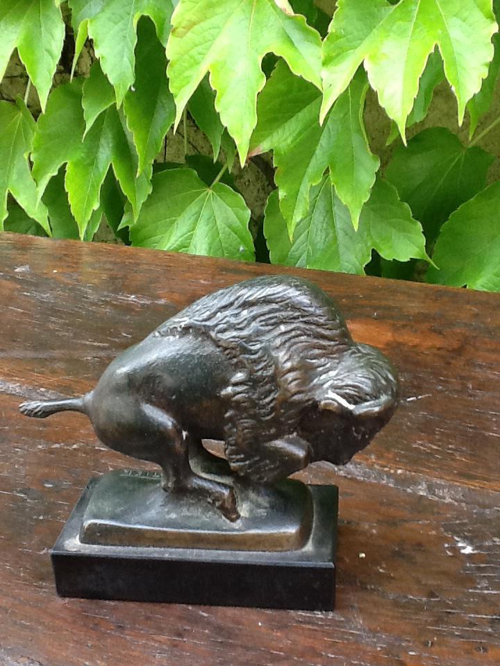 Bison In Bronze Signed Cartier