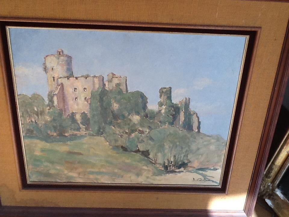 Oil On Canvas Bidache Castle Signed Rigodon