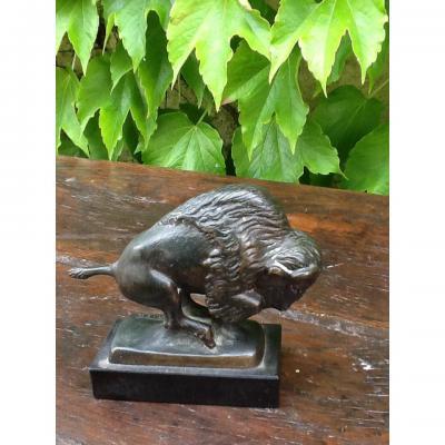Bison En Bronze Signé Cartier