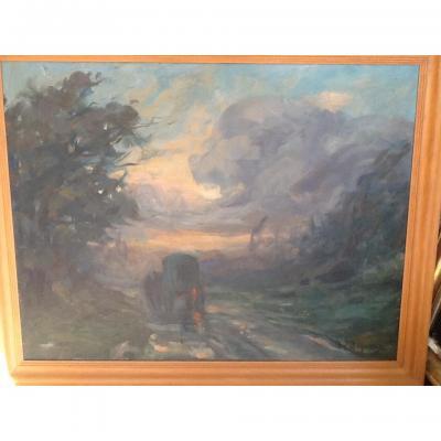 Oil On Canvas Landscape Signed Rigodon