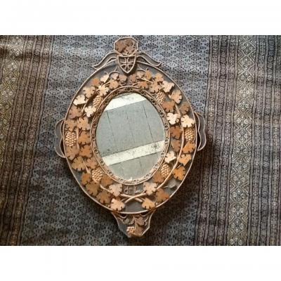 Miroir Ovale Bois Sculpté