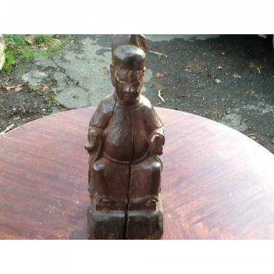 Sculpture En Bois Dignitaire Chinois19 Eme
