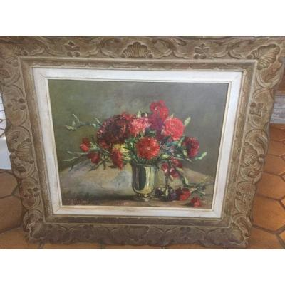 Table Of Flowers Carved Wooden Frame 20 Eme Siecle