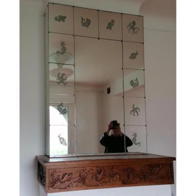 Console Bois Et Miroir Ambiance Bord De Mer  Annee 30 Ou 50