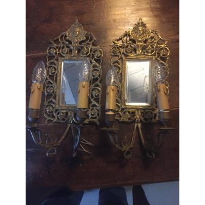 Paire Miroirs En Bronze