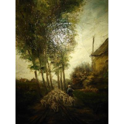 Oil On Canvas School Holandaise