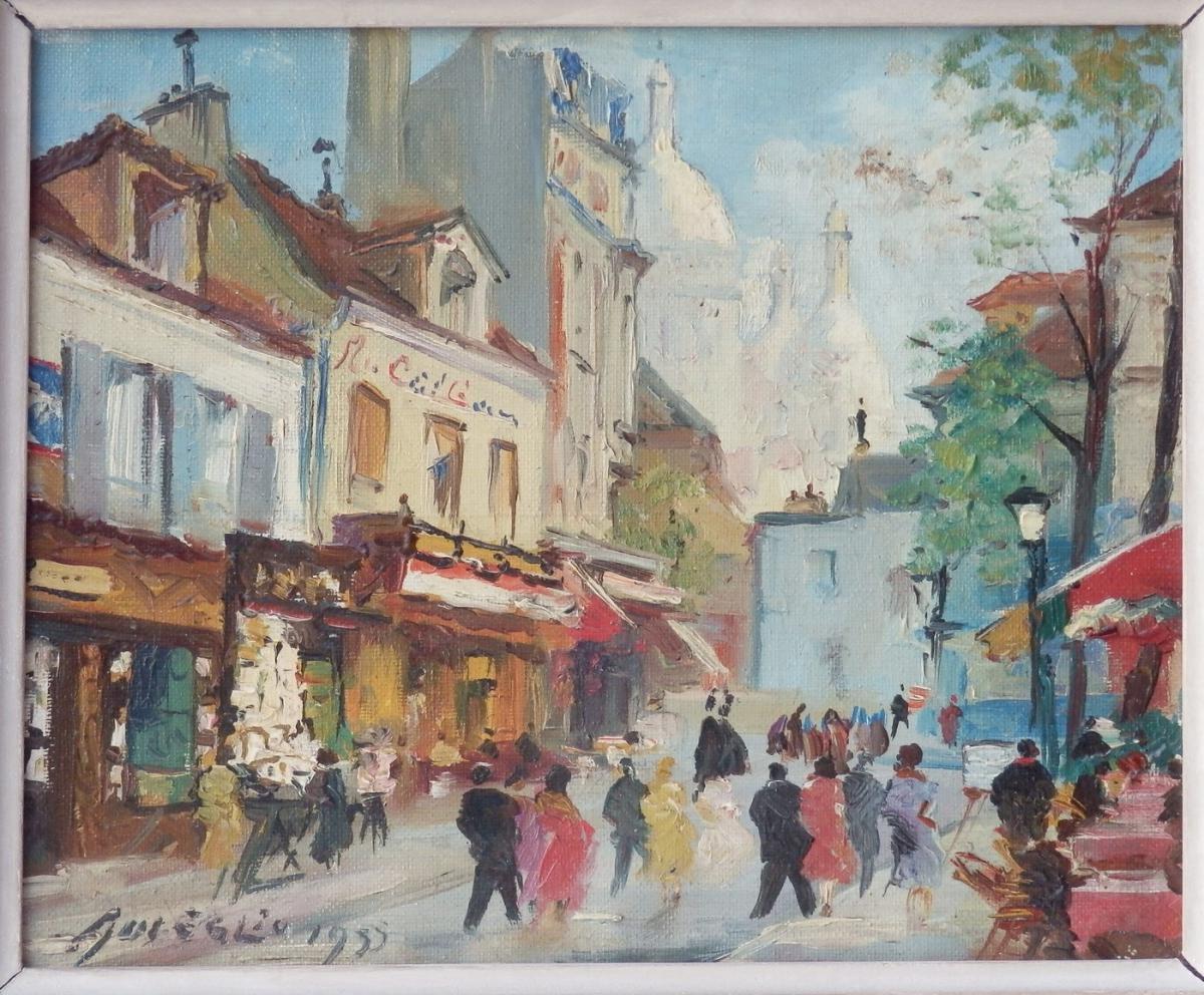 Merio Ameglio, Petite Huile Sur Toile: Montmartre, 1955-photo-2