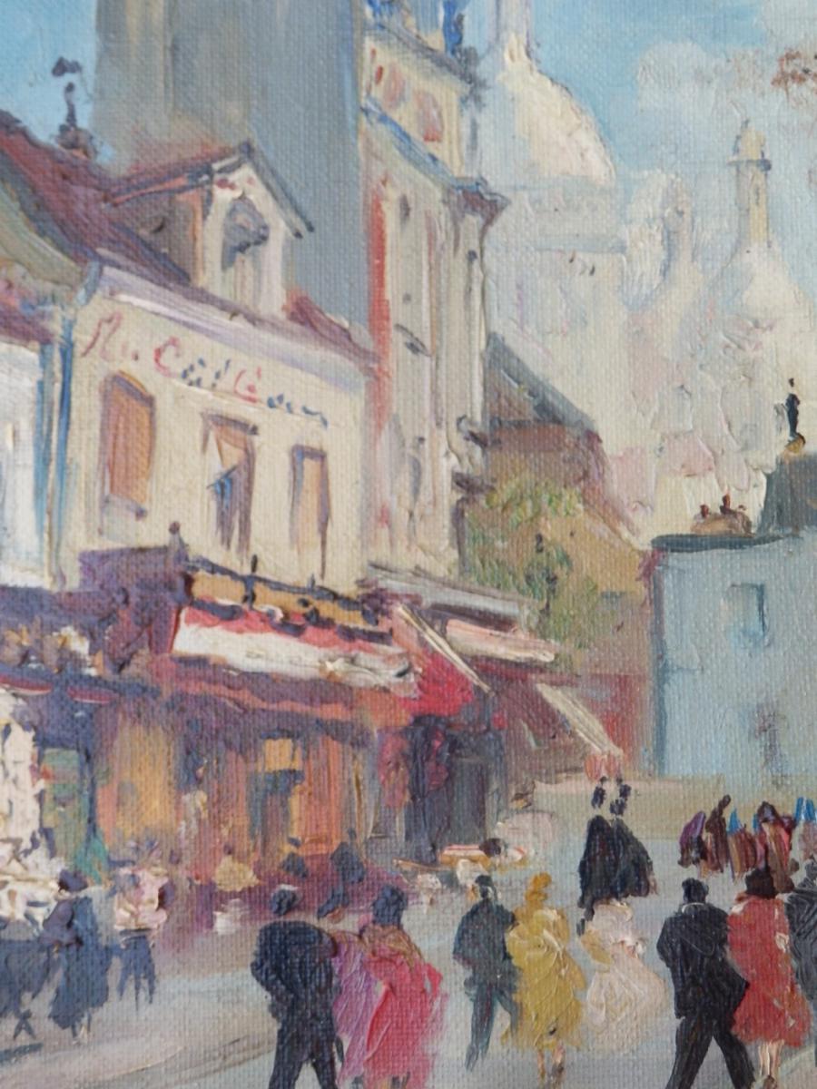 Merio Ameglio, Petite Huile Sur Toile: Montmartre, 1955-photo-4