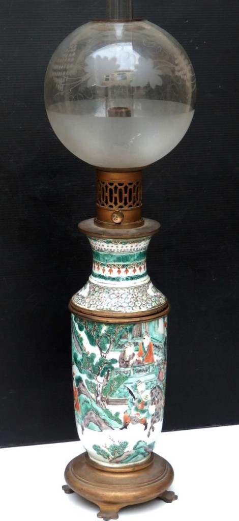 Grande Lampe à Huile Porcelaine De Chine Famille Verte, Bon état Vers 1860