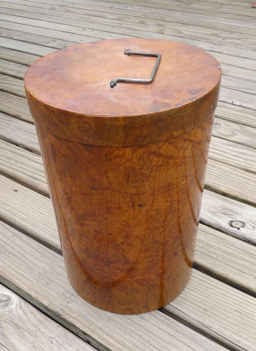 Bagage Luxe XIXe: Boîte à Manchons De Fourrure Bois Précieux