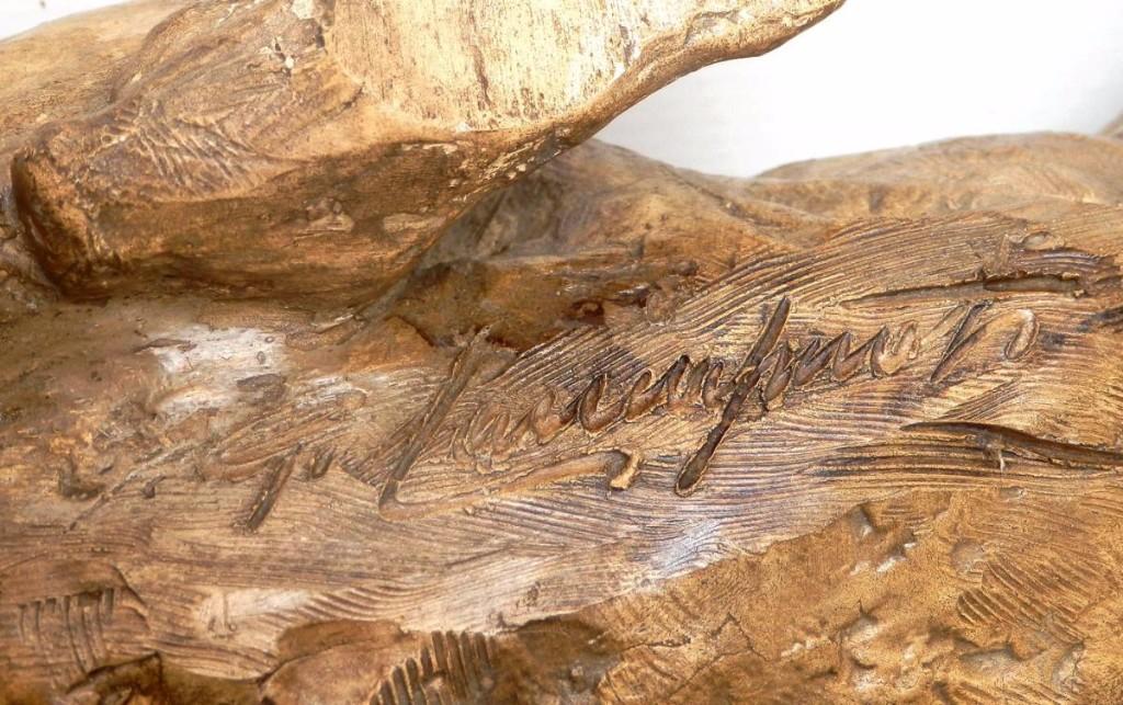 Tigre Terre Cuite, Longue Sculpture Signée, Vers 1900: Bon état-photo-3