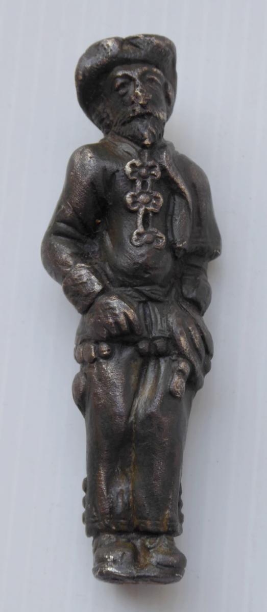 Manche de Couteau Bronze, XVIIe Siecle: un Pelerin, 34