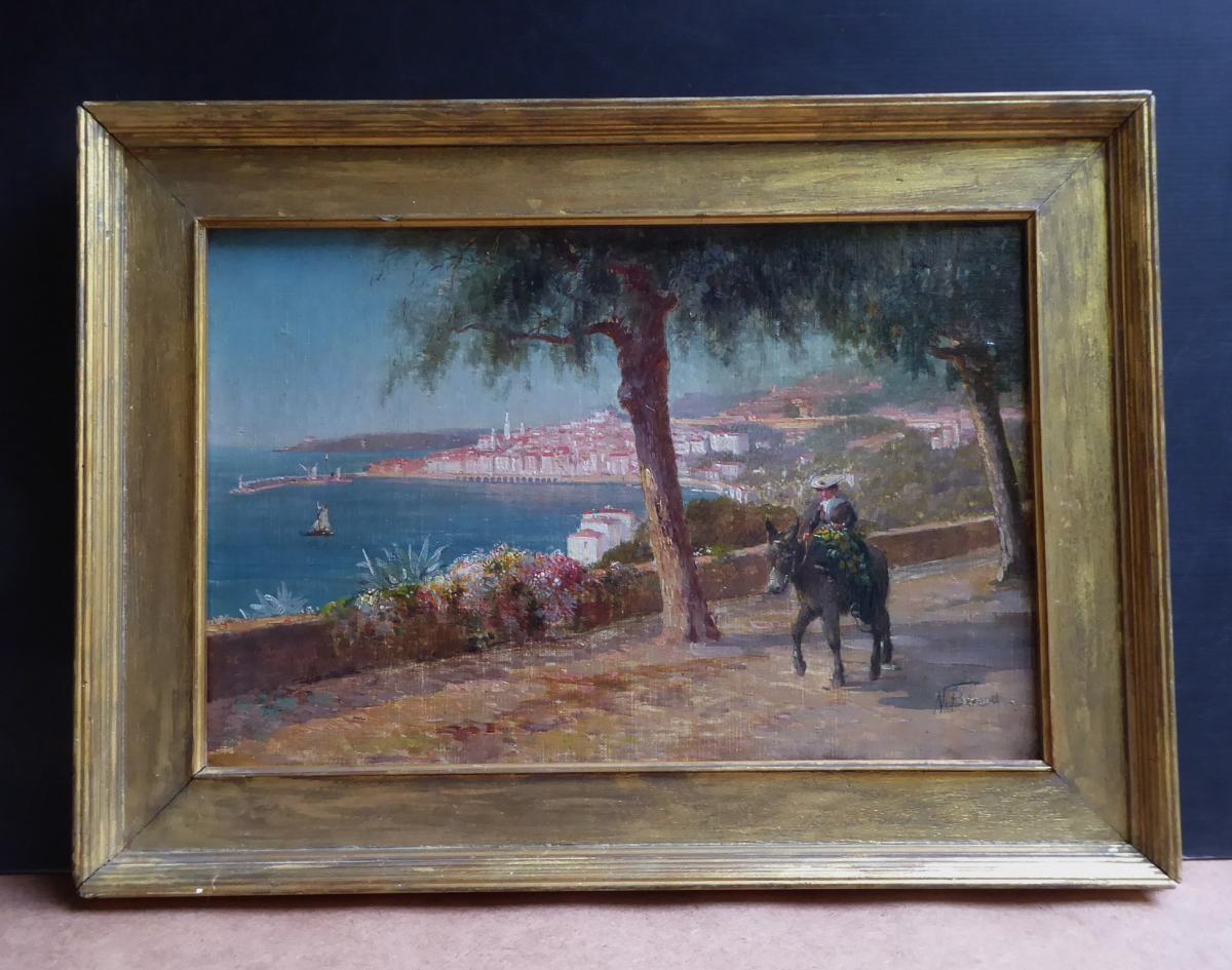 N. Béraud, Vers 1900: La Route De Menton, Huile Sur Toile, 35