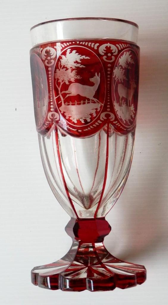 Verrerie Bohème Gravée Décor De Chasse, Rouge Rubis, XIXe