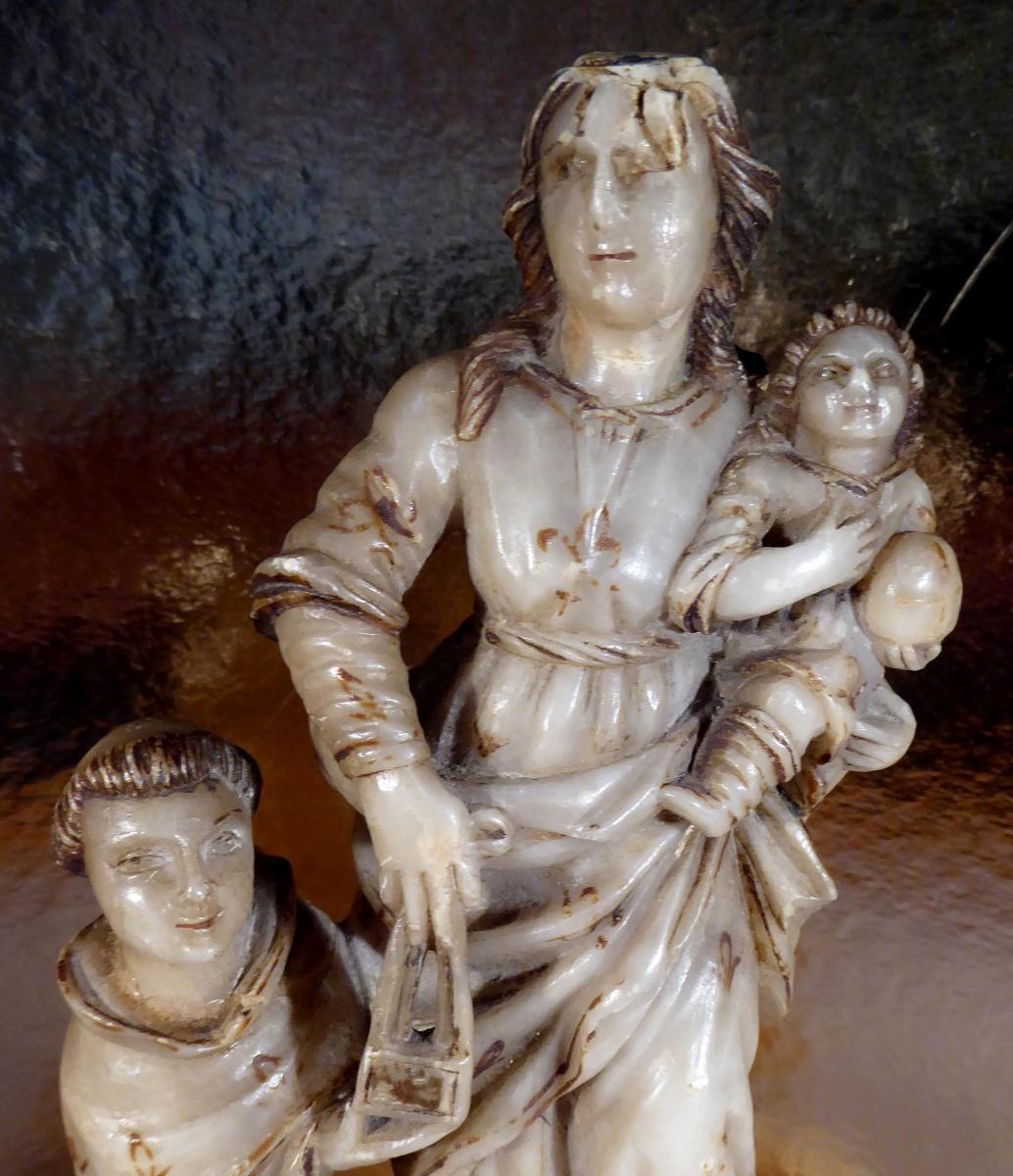 Vierge à l'Enfant, Albâtre Doré, Sicile, XVIIe Siècle