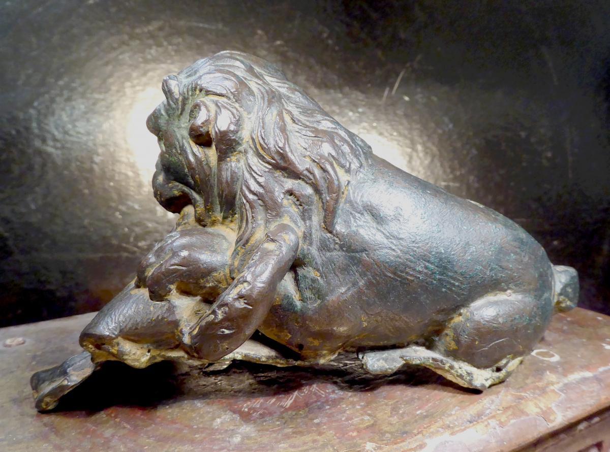 Lion Renaissance En Bronze, état Brut, Tirage XVIe Ou XVIIe,-photo-1