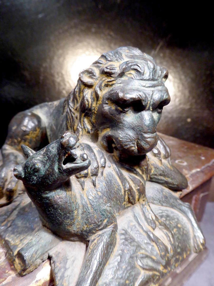 Lion Renaissance En Bronze, état Brut, Tirage XVIe Ou XVIIe,-photo-2