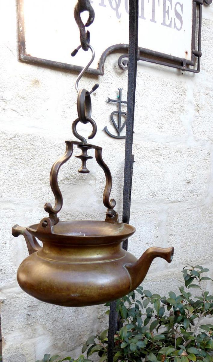 Puisette Aquamanile Bronze XVIIIe, Franche Comté, Bel état