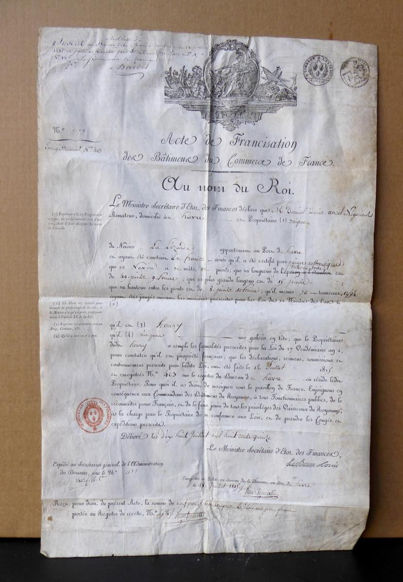 1815 Parchemin Royal Officiel Du Navire: La Lézarde