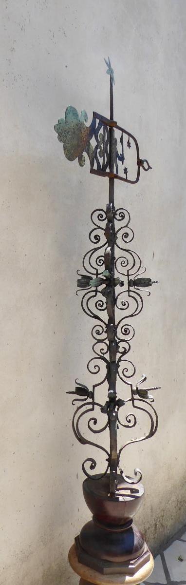 Haut Épi De Faîtage Avec Girouette, Fer Forgé Et Cuivre, XVIIIe