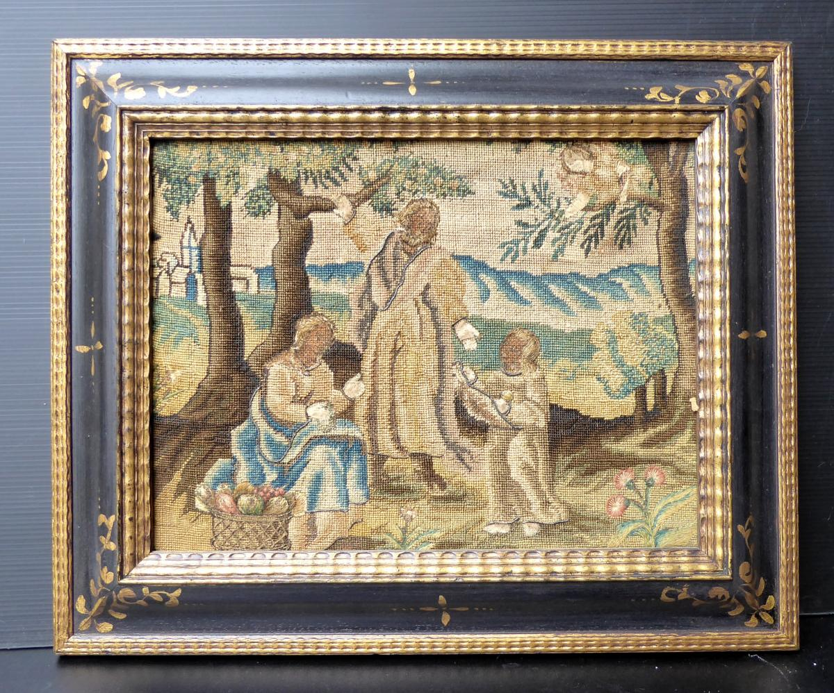 Broderie Du XVIIe Siècle: La Sainte Famille Heureuse