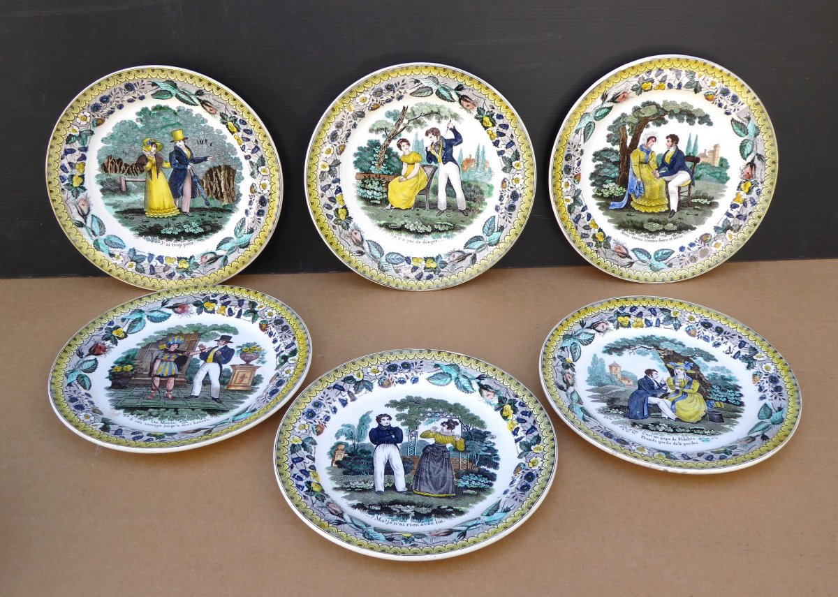 6  Colored Dessert Plates, The Lovers, By Choisy P & H, Circa 1830,