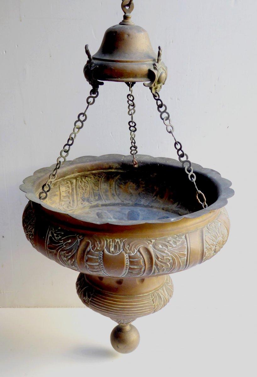 Grande Lampe De Sanctuaire, Laiton Estampé, époque Louis XIV