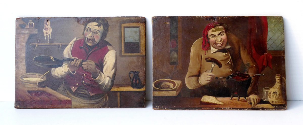 2 Gourmet And Popular Caricatures, 19th C, Oil S. Panel