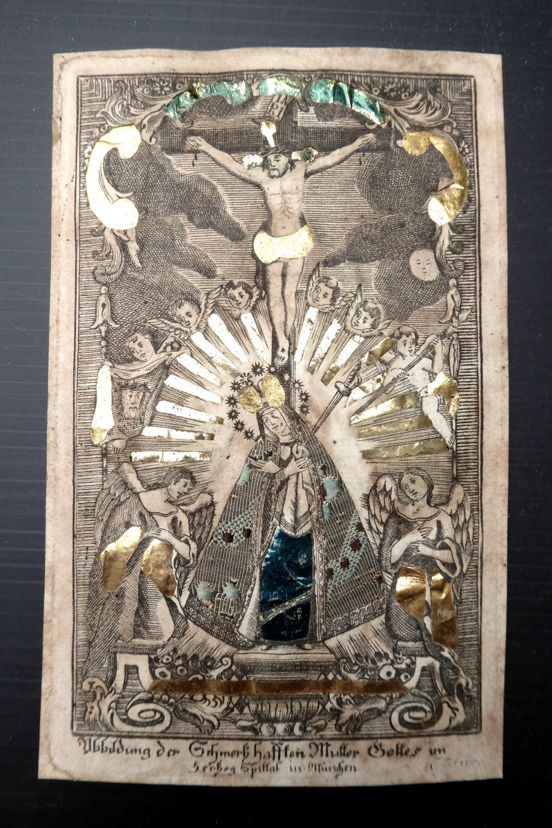 Pilgrimage Print, Dressed, Illuminated, Gilt, Eighteenth Virgin Of Pain