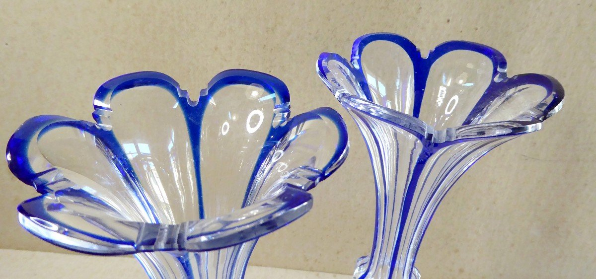 Crystal, Baccarat, Blue Lined, Pair Of Cornet Vases, 19th Century-photo-1