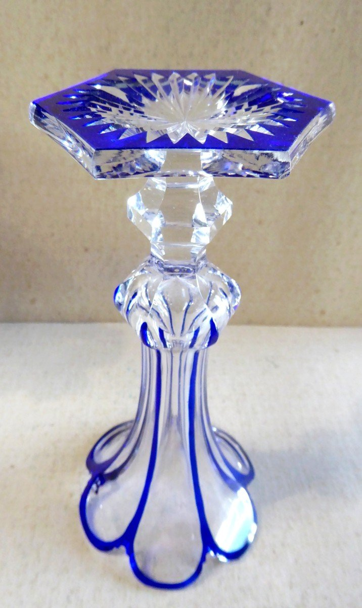 Crystal, Baccarat, Blue Lined, Pair Of Cornet Vases, 19th Century-photo-3