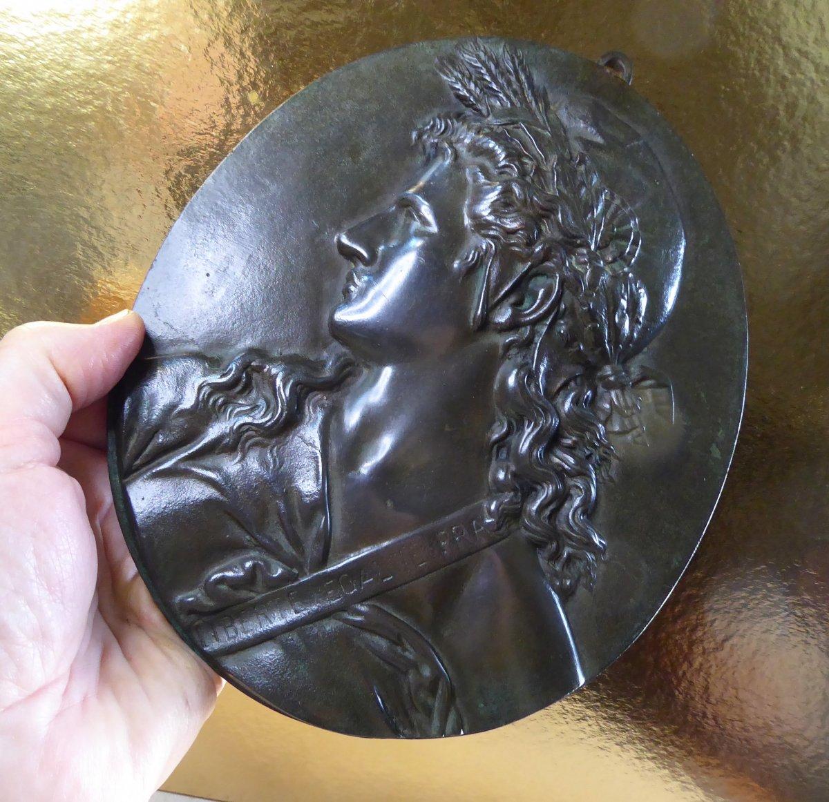 Marianne, 2nd Republic, Bas Relief , Bronze  19th Century