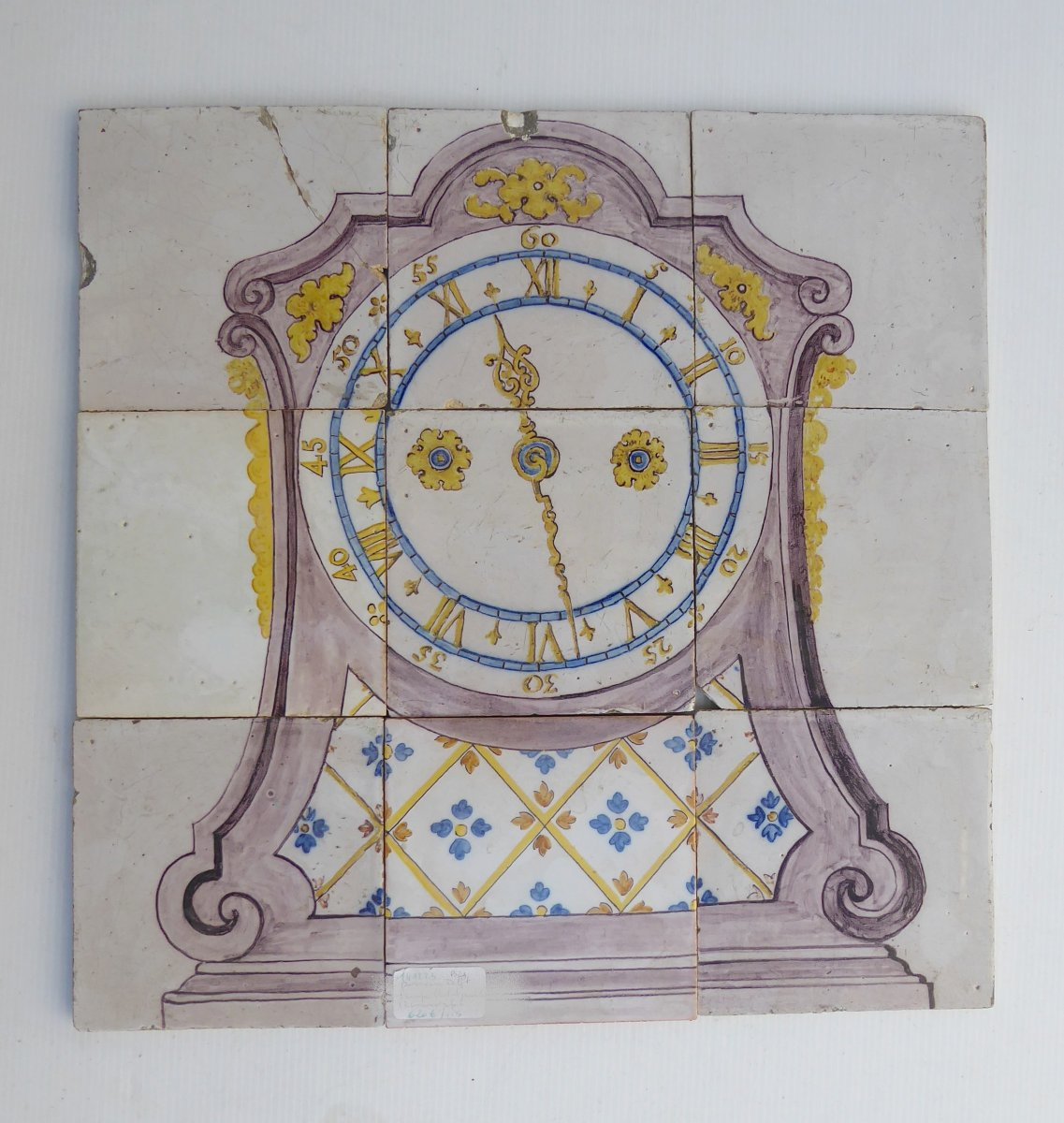 Delft, 18thc, Earthenware Wall Picture Of 9 Tiles: Polychrome Clock