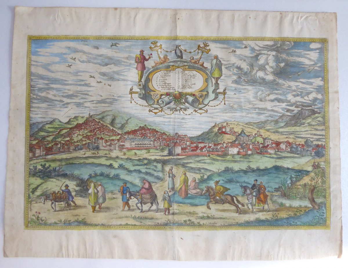 Panorama De Grenade, Braun- 1563, Coloris d'époque!