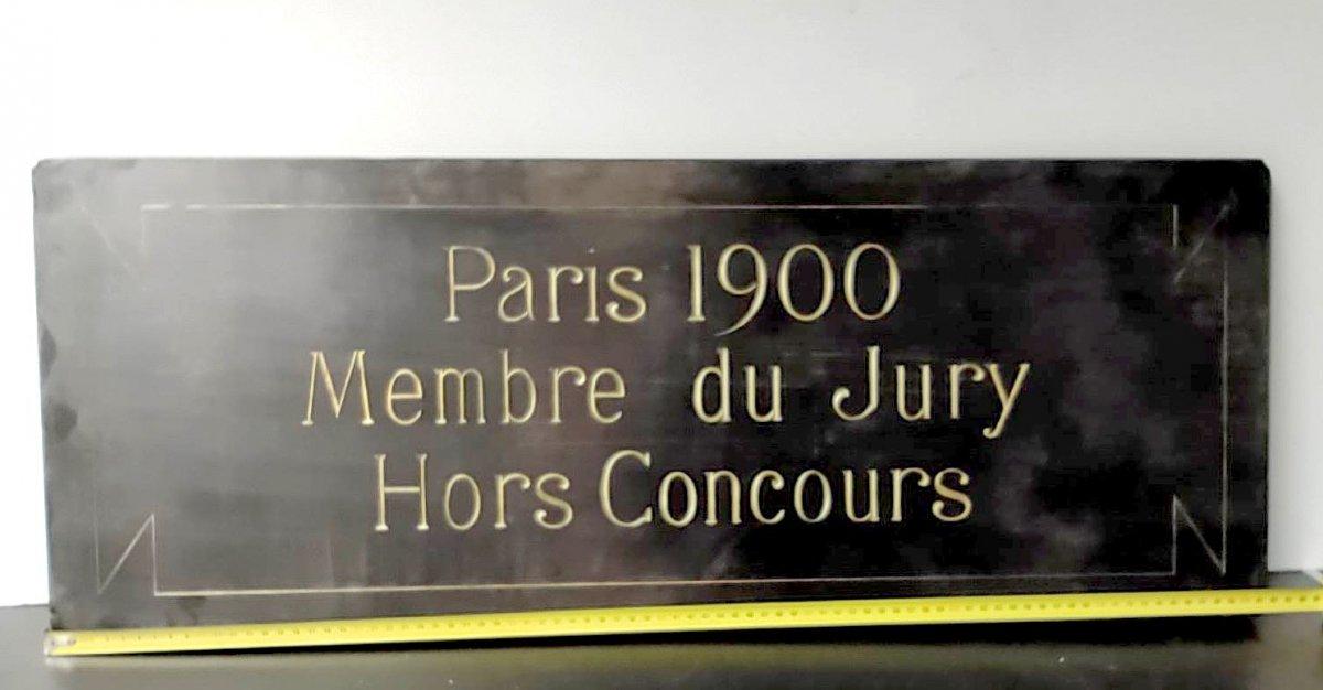 Salon Des Artistes Français 1900, Dark Marble Plaque Engraved And Gilt