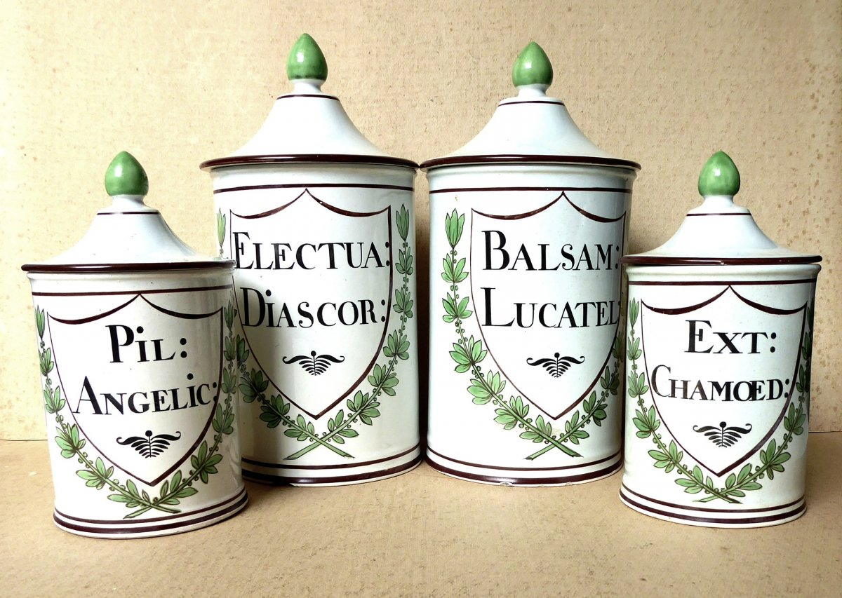Suite De 4 Pots d'Apothicaire Faïence, Paris 1820, Deroche