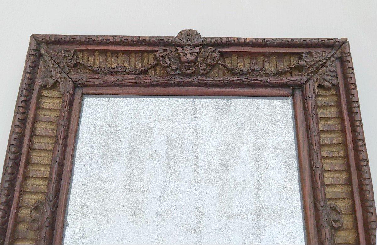 Miroir Art Populaire Provençal Sculpté En Micocoulier, XIXe, -photo-3