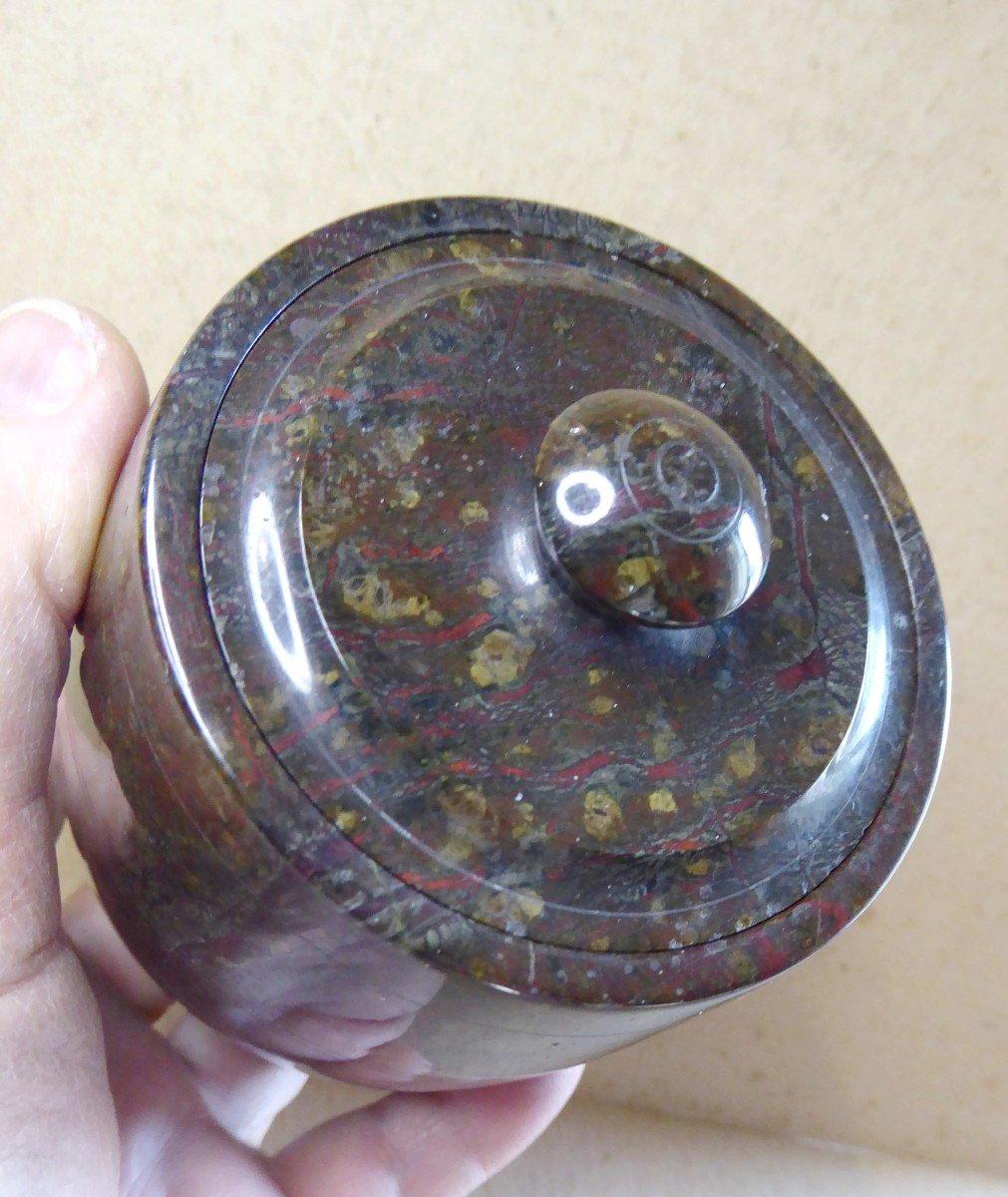 Urne couverte en pierre Serpentine tournée, XIXe siècle, -photo-1