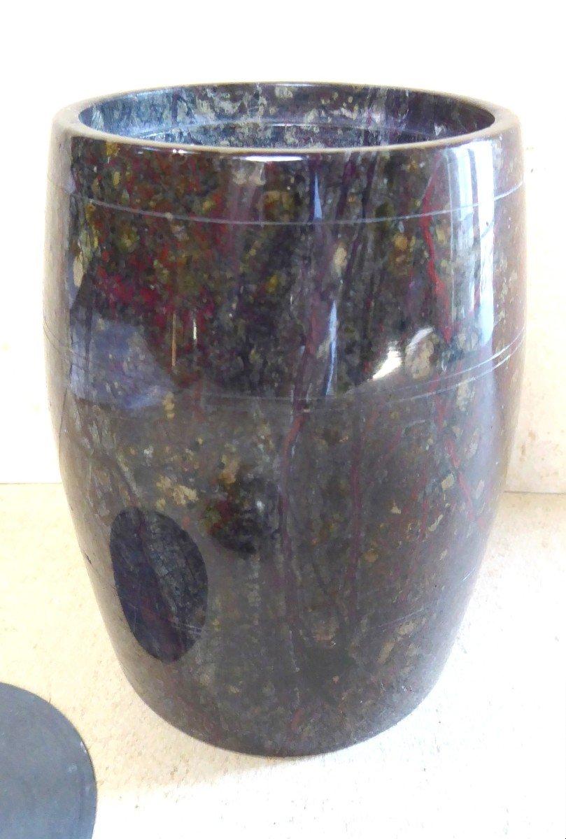 Urne couverte en pierre Serpentine tournée, XIXe siècle, -photo-4
