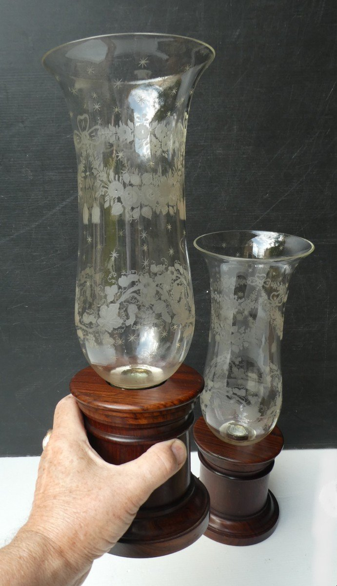 Pair Of Tall Tealight Candlesticks, Rosewood And Etched Glass-photo-3