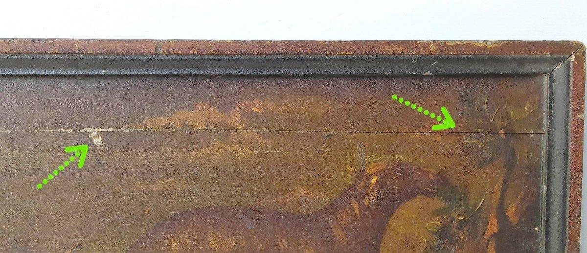 aux deux moutons, Enseigne d'auberge XIXe, peinture naïve sur bois-photo-2