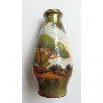 Barol, Bacs, 1919 Vase Décor Irisé Art Nouveau