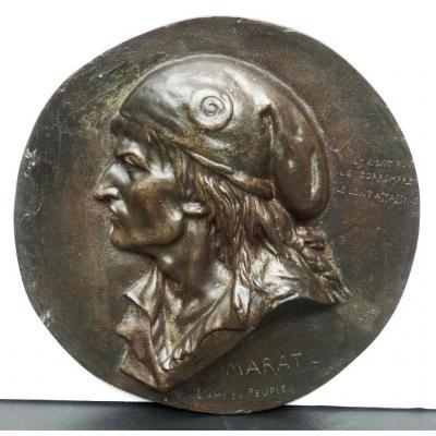 Grand Médaillon Profil Bronze, Marat, l'Ami Du Peuple, Brisson 1868