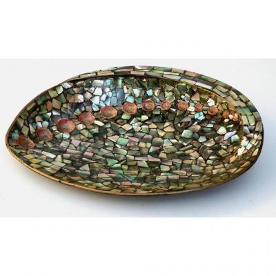 Japonisme: Grande Coquille En Laque Incrusté Abalone, XIXe Siècle