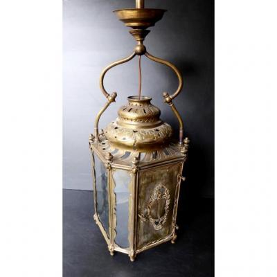 Grande Lanterne Laiton Découpé De Style Louis XV, XIXe Siècle