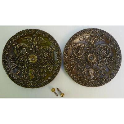 Paire De Bronzes Médaillons Début XIXe, à La Gloire De Napoléon 1er