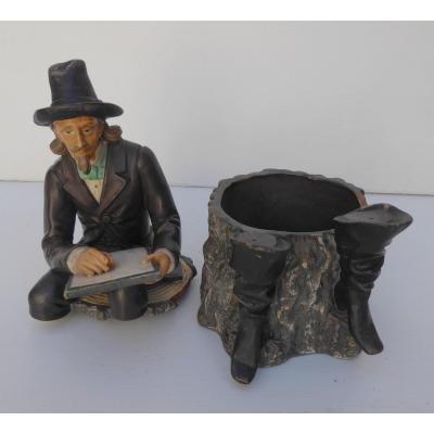 Pot à Tabac Terre Cuite Polychrome: Le Poète, Bon état, Fin XIXe